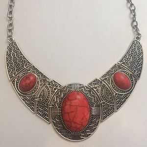 🔥🔥Faux red turquoise statement necklace nice 👍